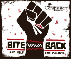 drawing of hand squashing a mosquito for bite back campaign poster