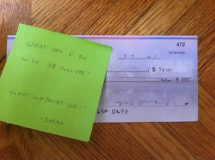 a note and a check