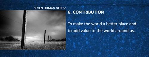7 human needs contribution