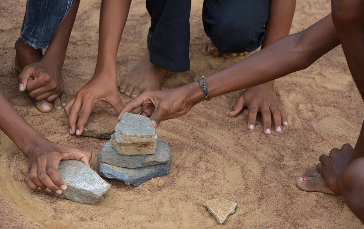 Traditional Game in India: Seven Stones Stack