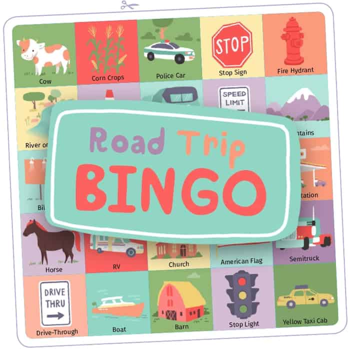 A bingo card with pictures of items you see on the road, like stop signs and taxis, with the text: Road Trip Bingo.