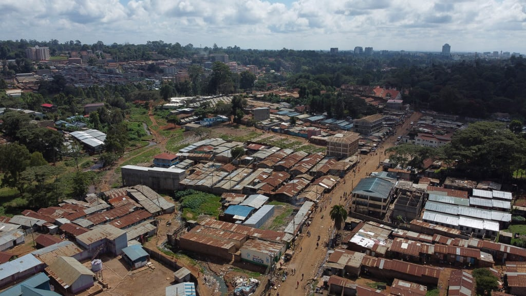 An aerial view of Gatina slums in Nairobi, Kenya. It is typical of many slums in Kenya with no infrastructure, electricity, running water, or sewer.