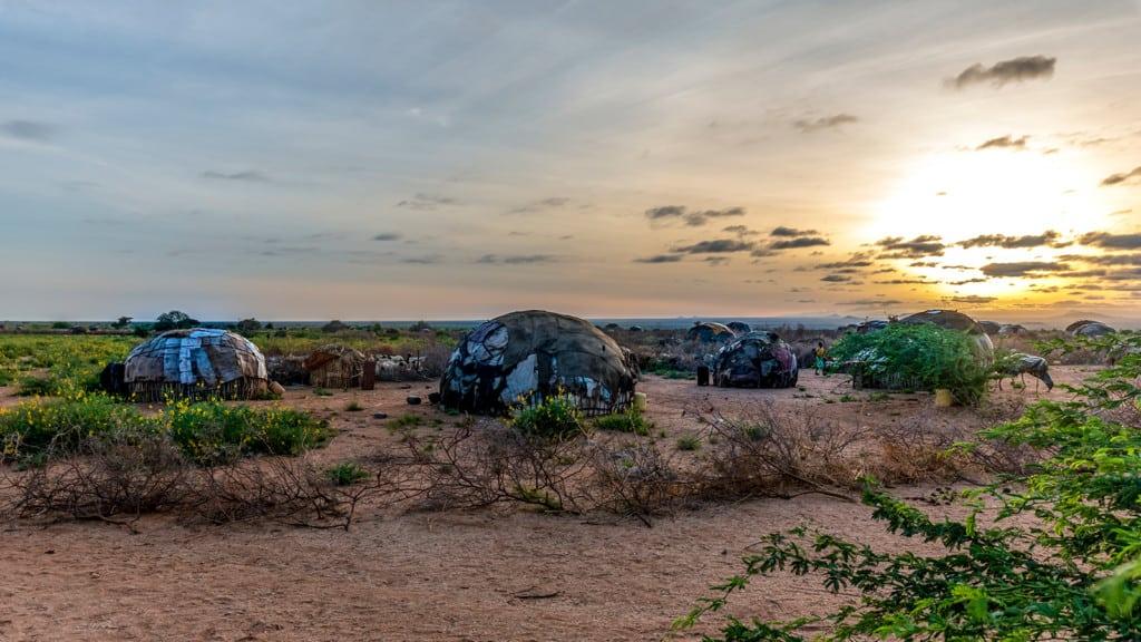 Skin covered hut in rural Kenya